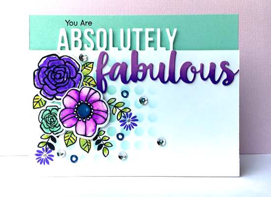 Pretty Posies stamp set and Die-namics and Absolutely Fabulous Die-namics - Lynn Put #mftstamps
