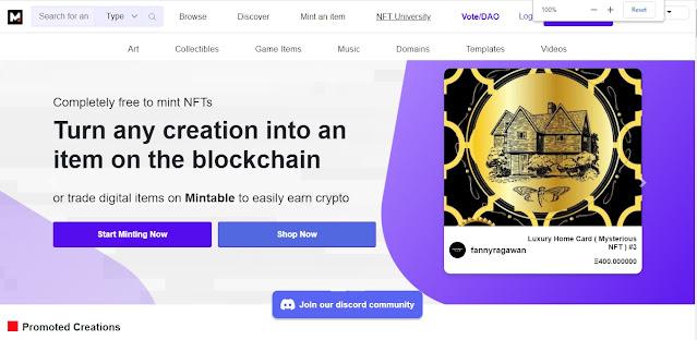 Screenshot Website Mintable
