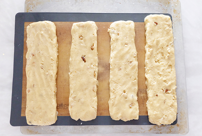 formed dough on baking sheet ready to bake
