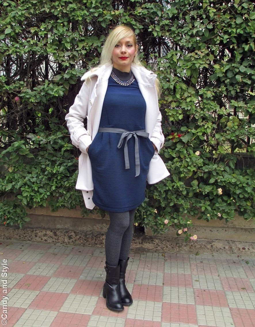 WhiteCoat+BlueDress+GreyTights+BlackBoots+RedLips - Lilli Candy and Style Fashion Blog