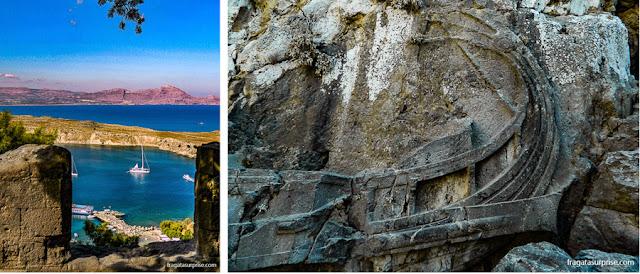 Muralhas dos cruzados e um antigo altar na Acrópole de Lindos, na Grécia