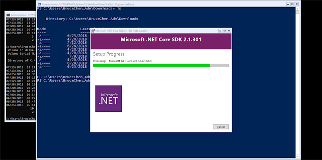 Server Core Setup dotnet SDK