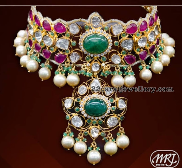 Grand Ruby Emerald Choker South Pearls