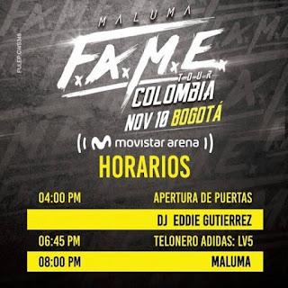 HORARIOS | Concierto de MALUMA en Bogotá