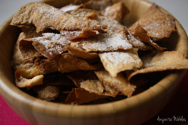 Anyonita Nibbles, A bowl of twice-baked tostada crisps with cinnamon sugar