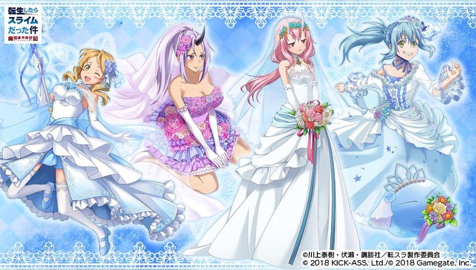 Imagem de Tensei Shitara Slime Datta Ken, Rimuru, Shion e Shuna vestidas de noiva.