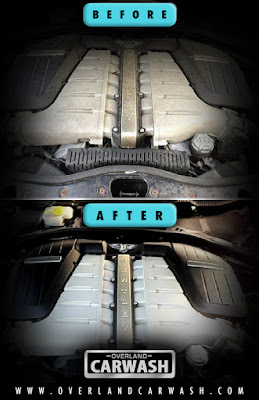 Before and after picture of engine bay being detailed.