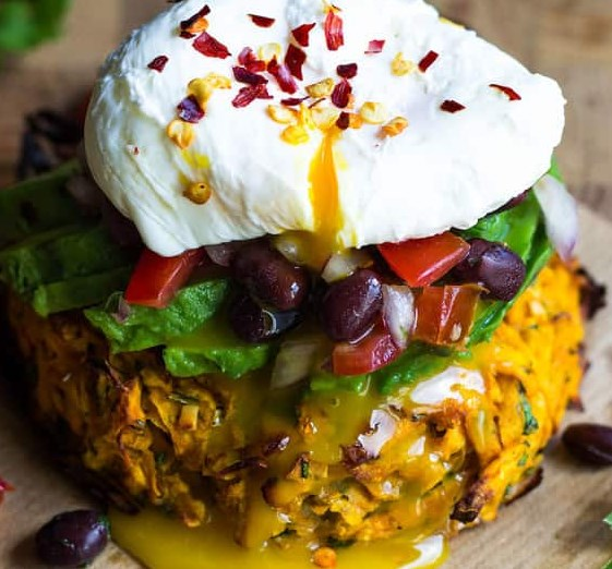 SWEET POTATO ROSTI WITH POACHED EGG #vegetarian #lunch