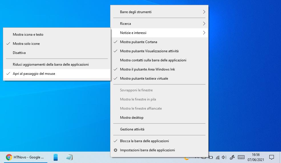 Come disattivare l'apertura al passaggio del mouse del widget Notizie e interessi di Windows 10