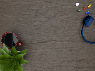 3D headphone and plant and cup of coffee top view background