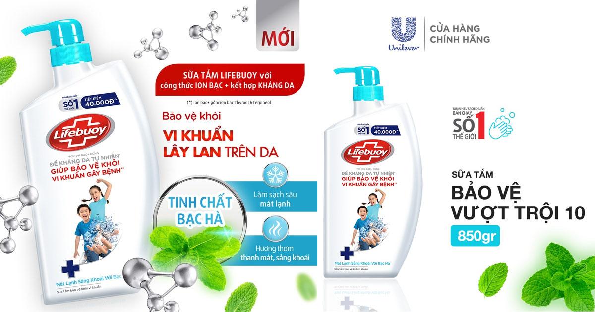 Sữa tắm Lifebuoy Bảo vệ khỏi vi khuẩn 850gr (Chai)
