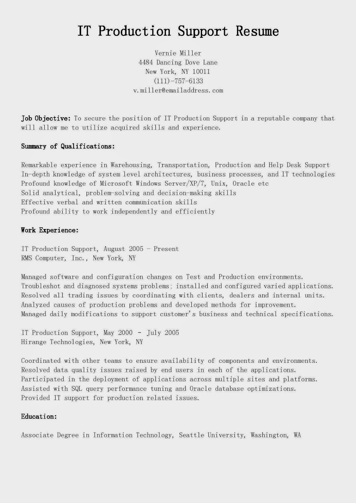 Mainframe Production Support Cover Letter | Remote Desktop Support ...