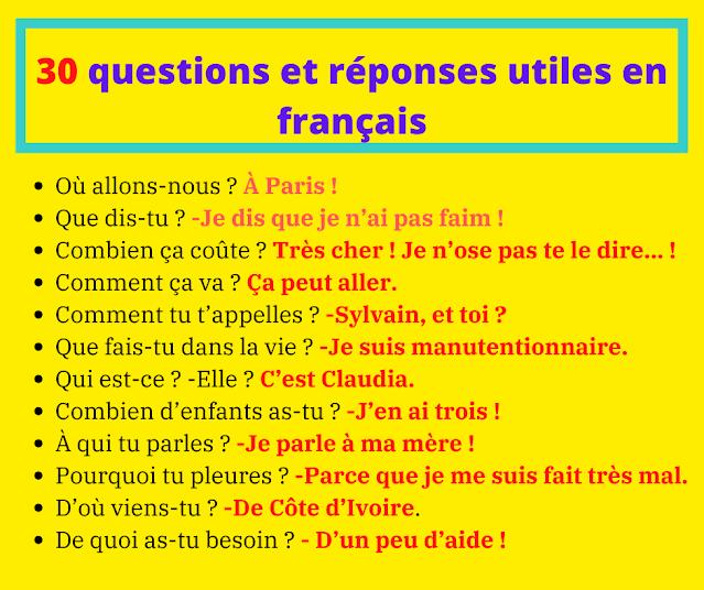 30 questions et réponses utiles en français