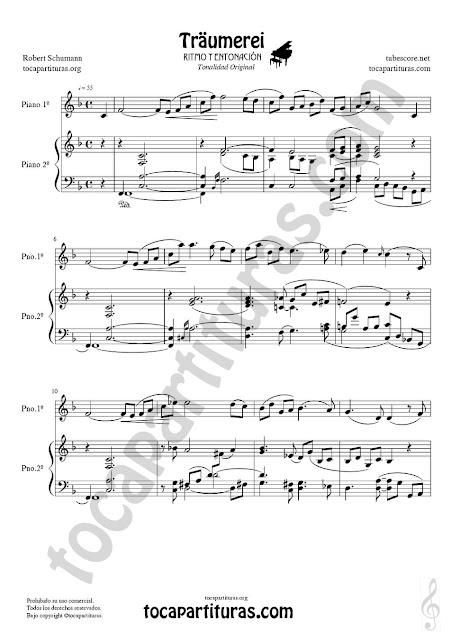 Partitura de Piano a dos manos en formato JPG para descarga gratis de Traumerei de Schumann Tono Original Pianists Sheet Music Duet Piano (three hands) PDF y MIDI Dúo aquí