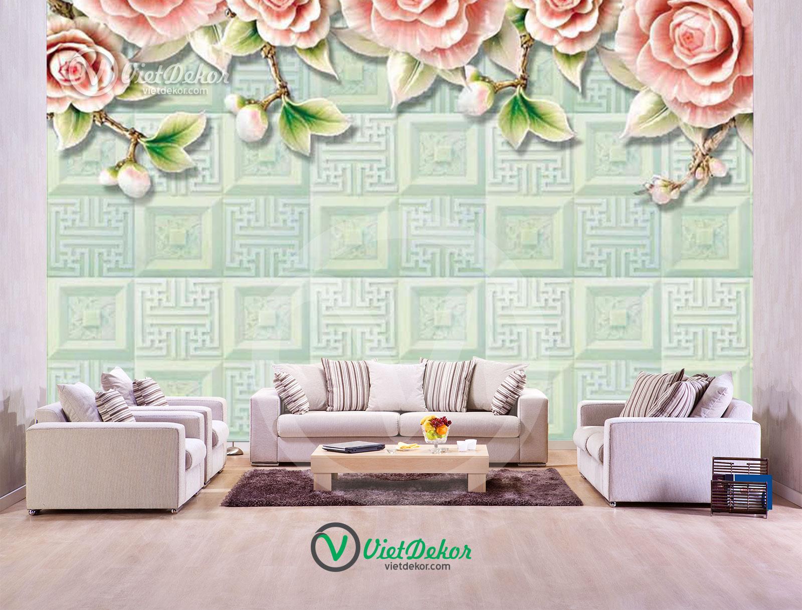 Tranh dán tường 3d hoa trang trí ngọc