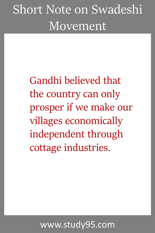 Note on Swadeshi Movement