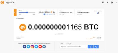 Tampilan aplikasi mining Cryptotab setelah menginstall siap untuk menambang BTC