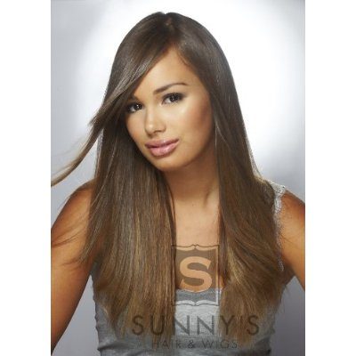 ... Clip In Hair Extensions Lt. Brown Strawberry Blonde Highlights - Hair