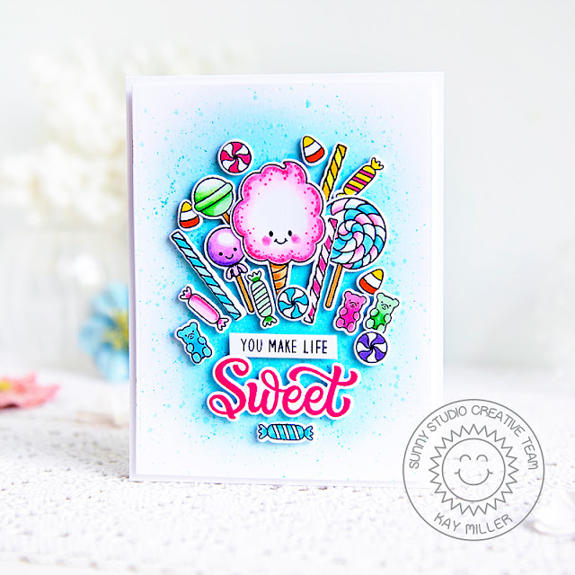 Sunny Studio Stamps: Candy Shoppe Candy Themed Card by Kay Miller