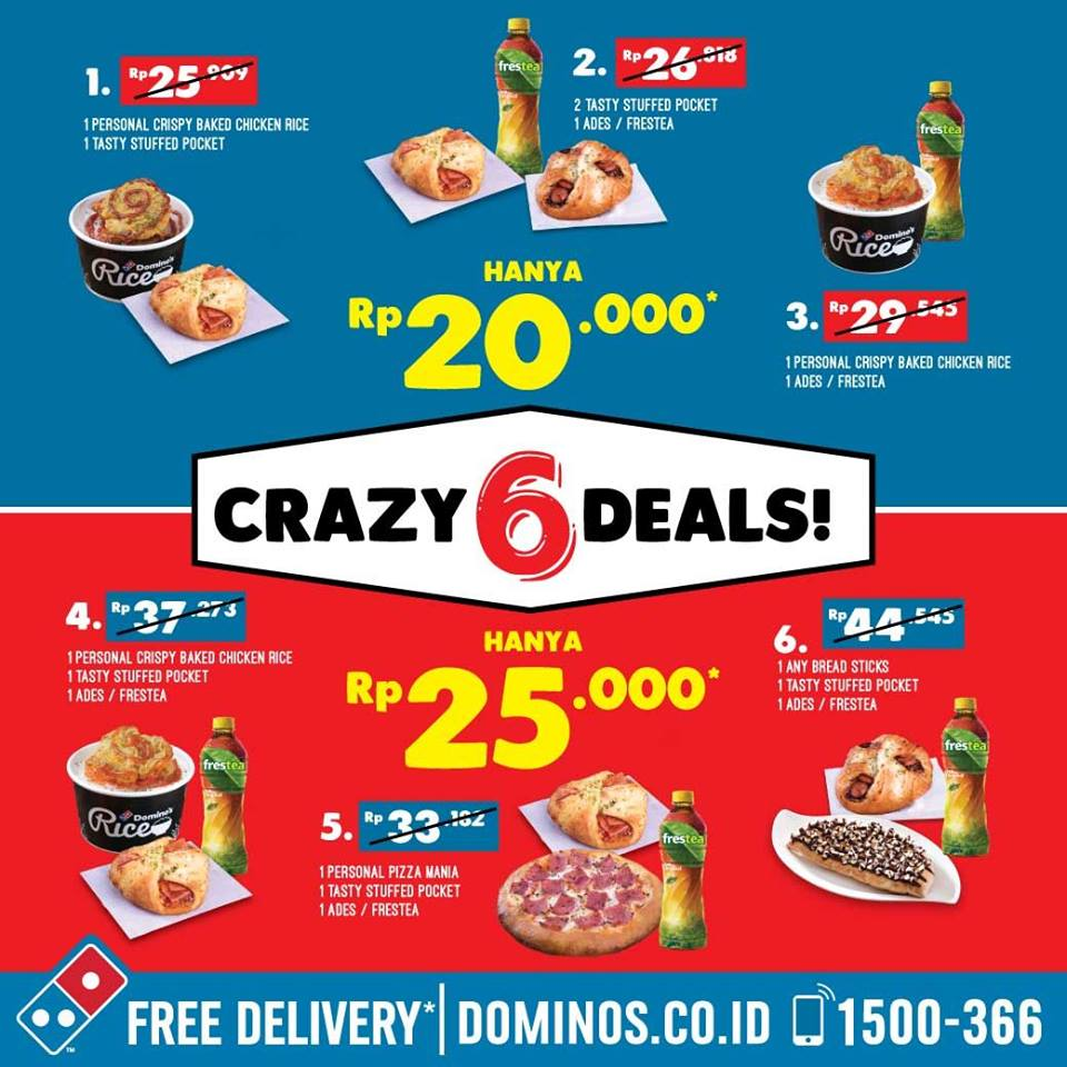 Promo Dominos Pizza Terbaru Crazy 6 Deals Dua Paket Mulai 20 Ribu
