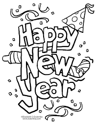 Happy New Year Coloring Pages Printable Pictures Free 2017