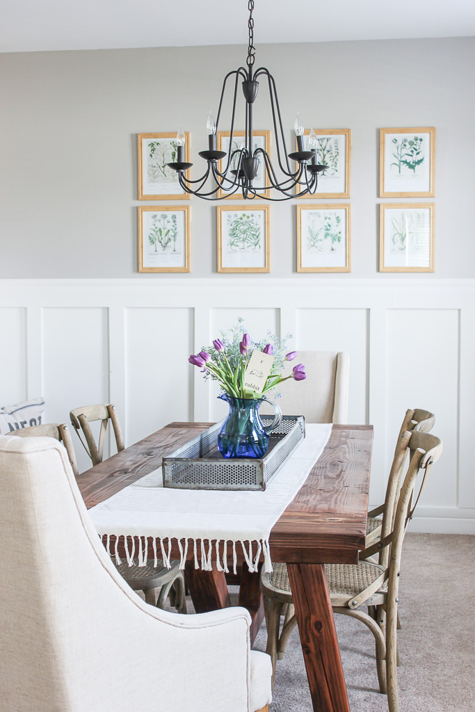 spring decorating in the dining room