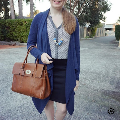 awayfromblue instagram mixed print shirt navy cardigan pencil skirt office outfit autumn