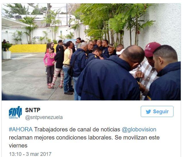 Empleados de Globovisión en Huelga Laboral por bajos salarios