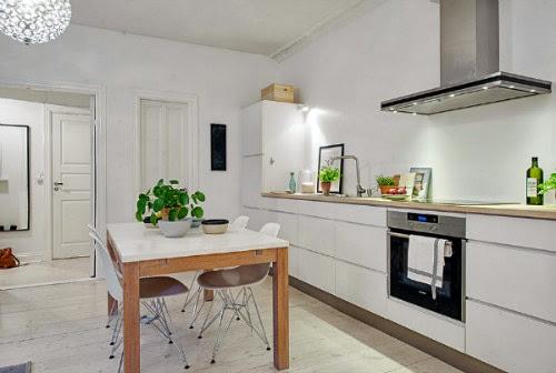 cocina-comedor nórdica