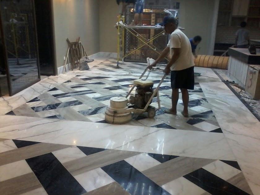 Proses poles/selep lantai marmer