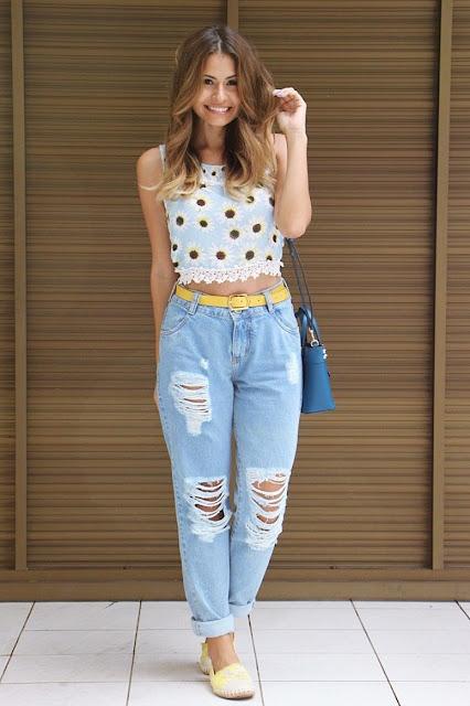 Ideias de look simples com calça boyfriend jeans