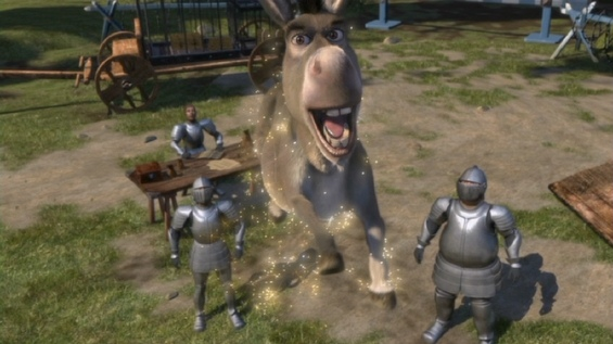 Donkey (Eddie Murphy) leaping from guards animatedfilmreviews.blogspot.com