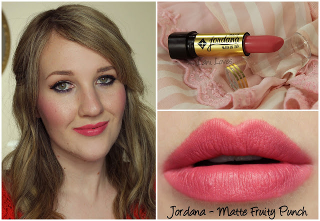 Jordana Matte Fruity Punch lipstick swatch