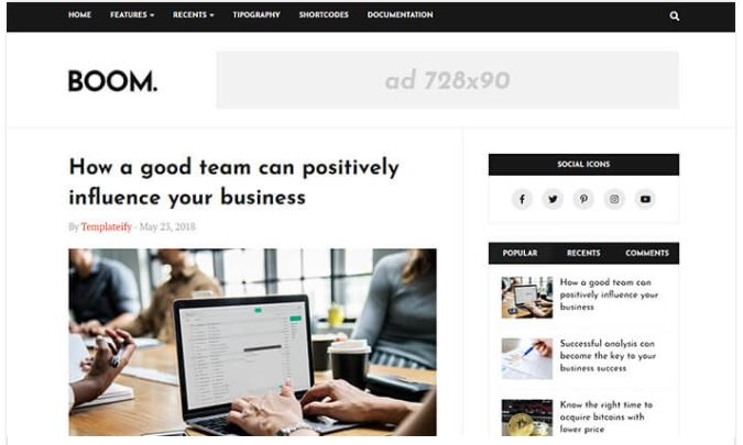Giao diện blogger Boom blogger template