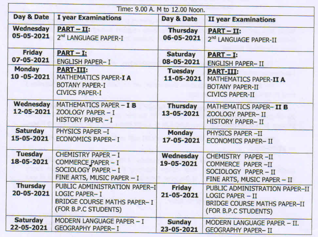 AP Intermediate Examination 1st Year and 2nd Year Time Table 2021