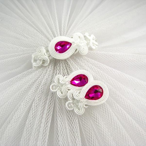 Kolczyki i bransoletka ślubna sutasz z fuksjowymi kryształami.