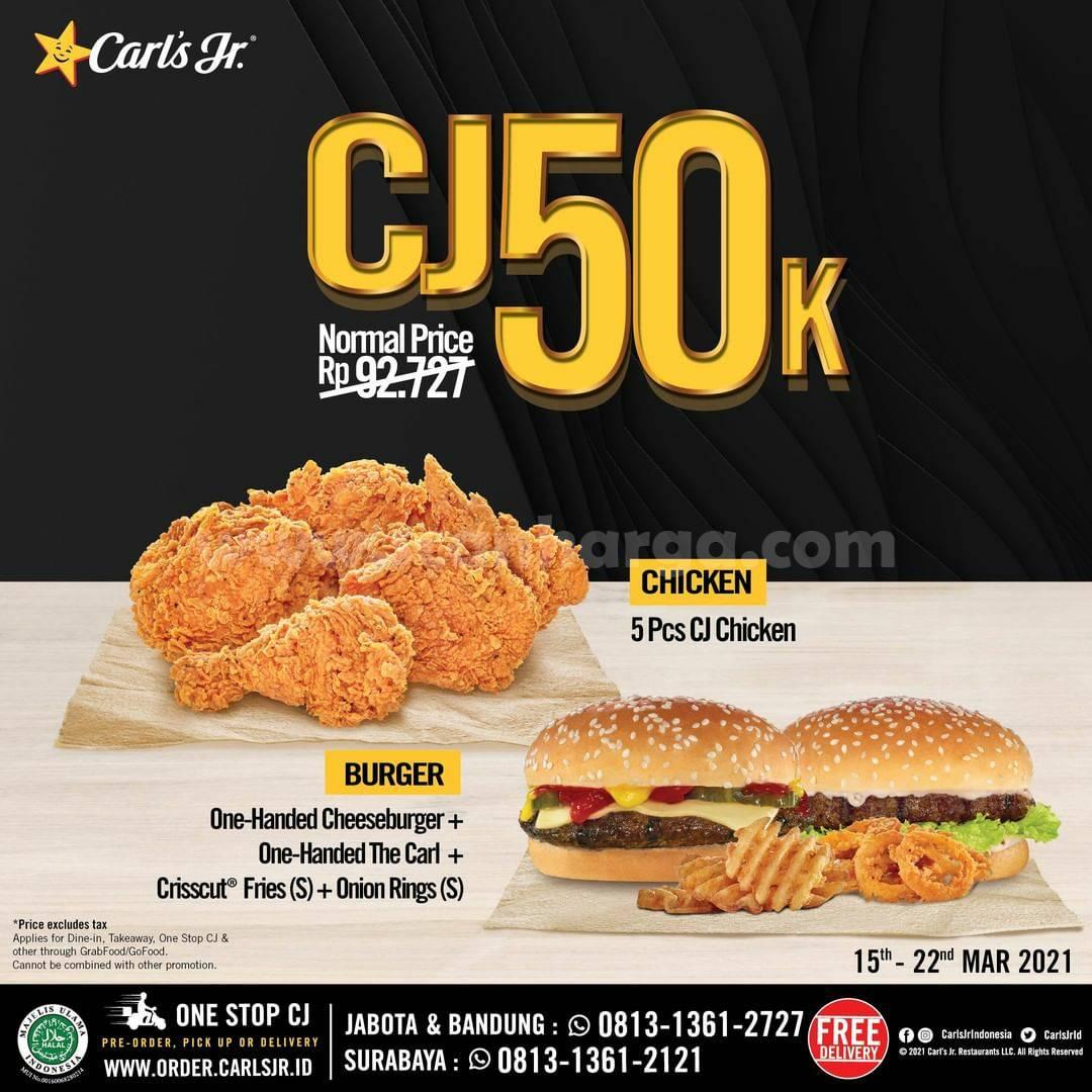 CARLS JR Promo Paket 5 CJ Chicken atau 2 Cheeseburger hanya Rp 50RB