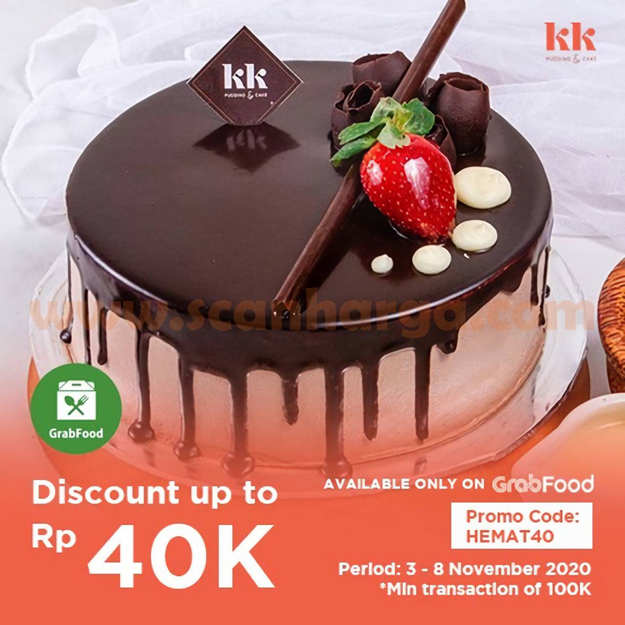 Promo KK Pudding & Cake Disc Up to 40% khusus pemesanan via Grabfood