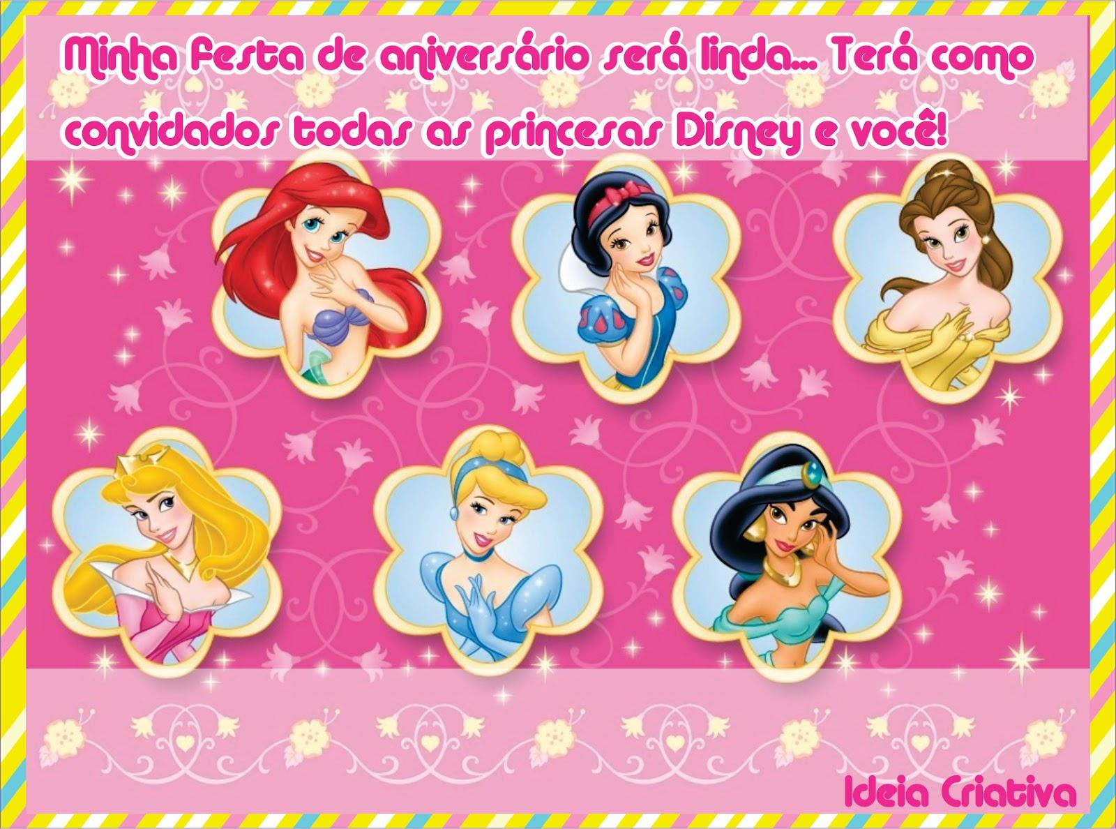 Convite De Aniversario Princesas Disney
