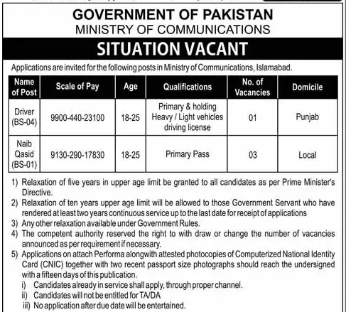 Advertisement for Ministry of Communication Jobs