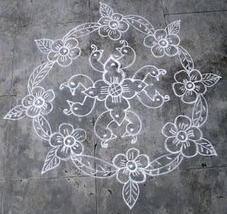 Navarathri Bird & Flower Kolam