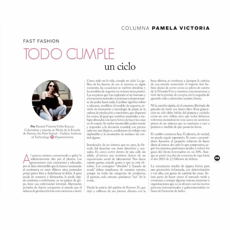 Fast fashion - moda rapida - la muerte del fast fashion - pamela victopria - columnista de moda en chile