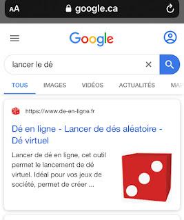 Le « lancer le dé » de Google Recherche