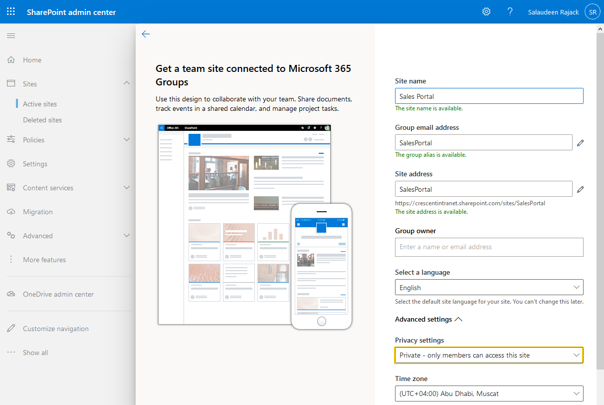 sharepoint online change site from public to private