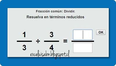 División de fracciones comunes.