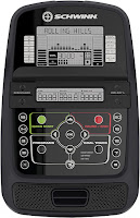 Schwinn 130 Upright Exercise Bike's console with dual-track LCD screens, image, compared with Schwinn A10 & 170
