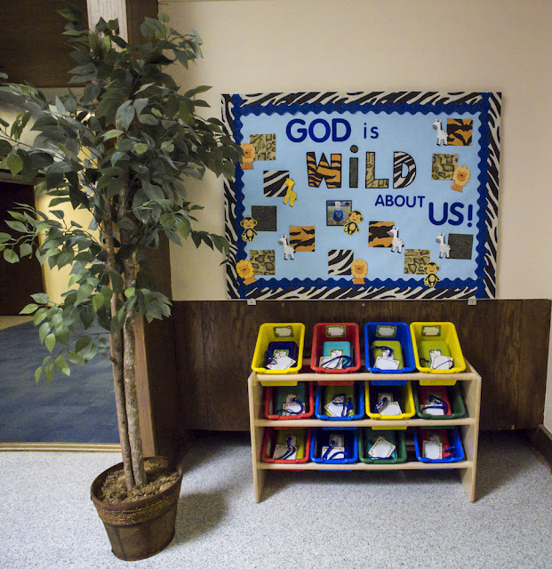 God is WILD about us jungle safari themed bulletin board.  Add students' names and photos.  Super cute for jungle classroom decor