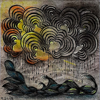 Hump Day #14 with the theme Clouds. Tangles used Pop-Cloud, Msst, Sea Wave