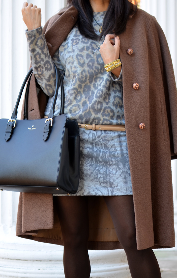 Camel and leopard outfit
