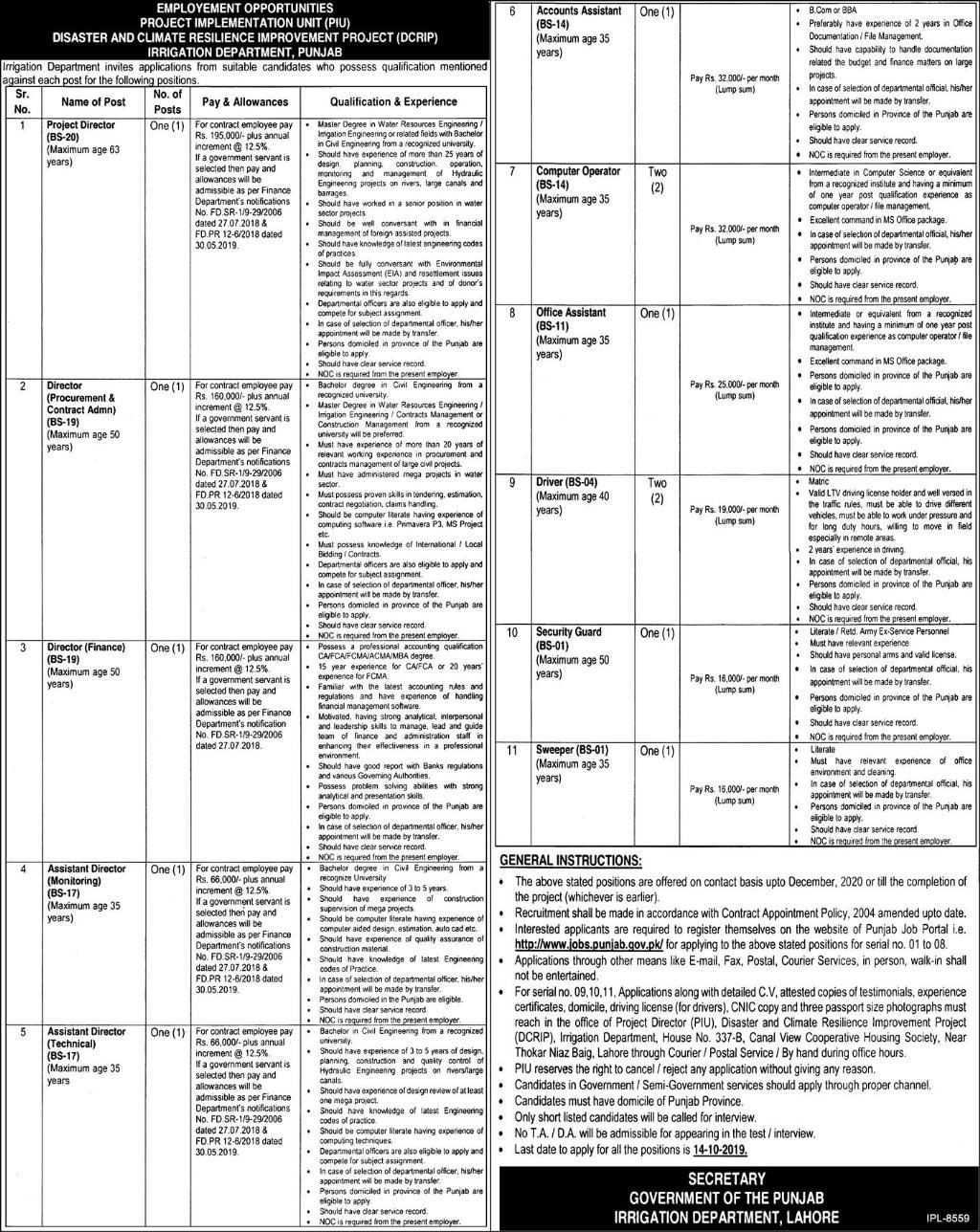 Govt Jobs in Lahore in Irrigation Department 2019
